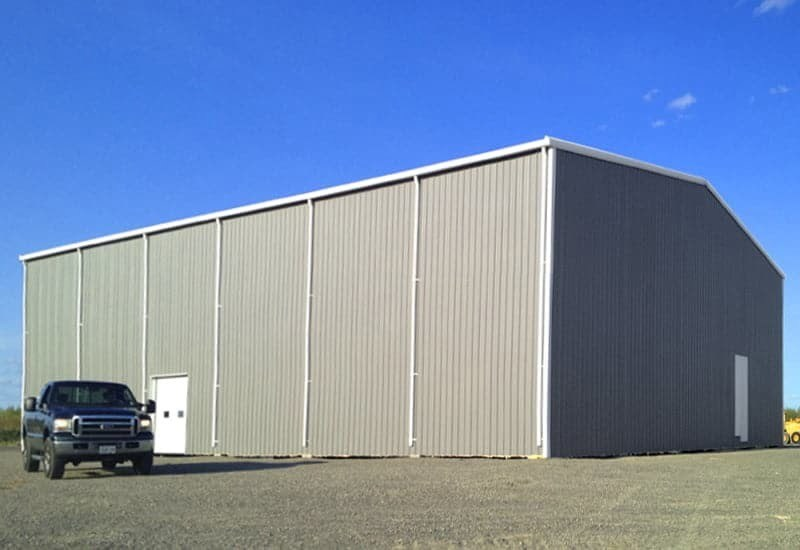 Exterior of a prefab steel agricultural cannabis grow-ops building system