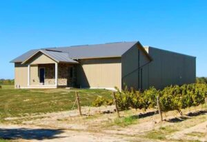 Exterior of a prefab steel agricultural building for a vineyard