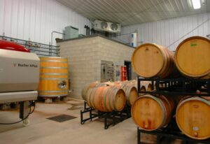 Interior of a prefab steel framed farm agricultural building for a vineyard