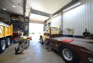 Interior of a a pre engineered steel workshop and garage and storage building