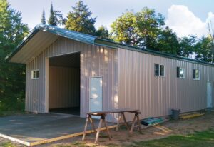 Prefab steel residential garage and shop with overhang
