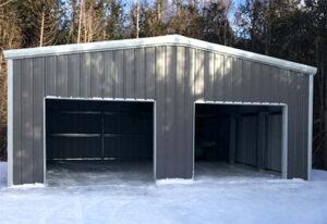 A prefab steel building two-door garage