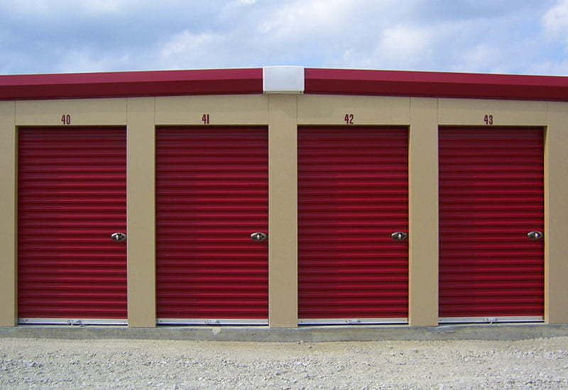 Red colored steel storage units