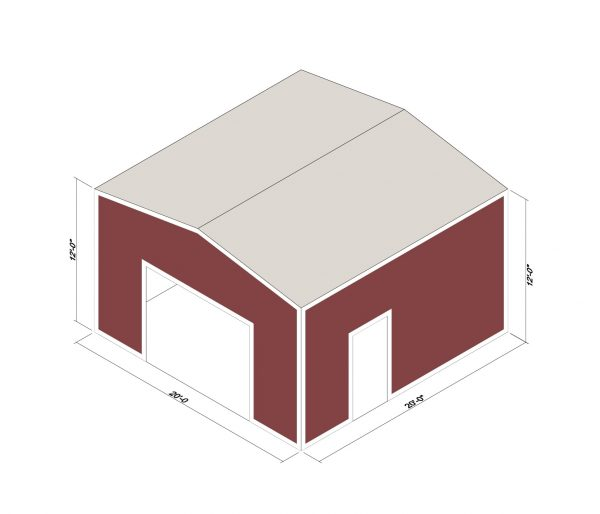 20x20x12 Prefab Steel Building Kit
